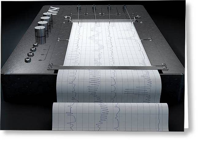 Polygraph Lie Detector Machine Greeting Card by Allan Swart