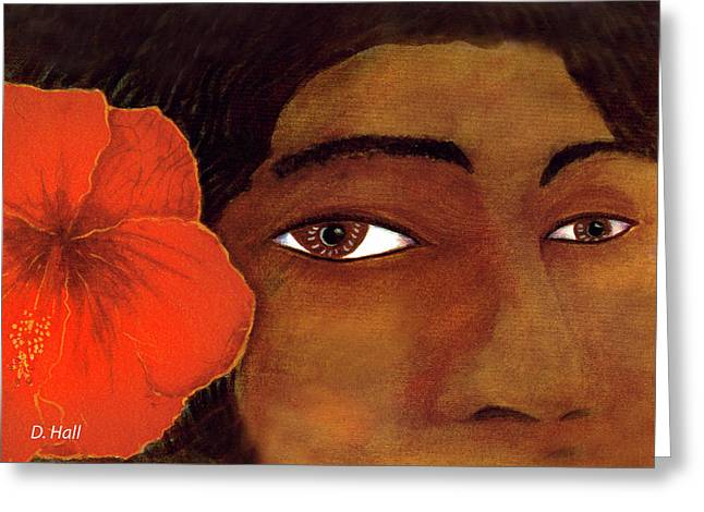 Polynesian Girl #67 Greeting Card by Donald k Hall