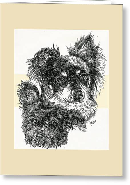 Pomapoo Father And Son Greeting Card by Barbara Keith
