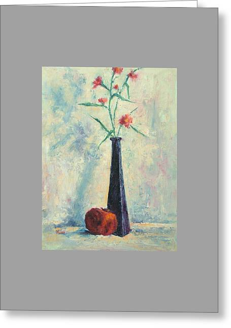 Pomegranate And Black Vase Greeting Card by Jill Musser