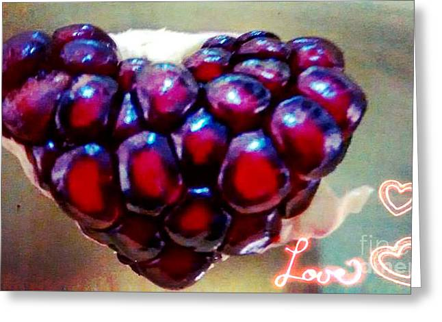 Pomegranate Heart Greeting Card by Genevieve Esson