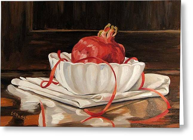 Pomegranate In White Greeting Card by Cheryl Pass