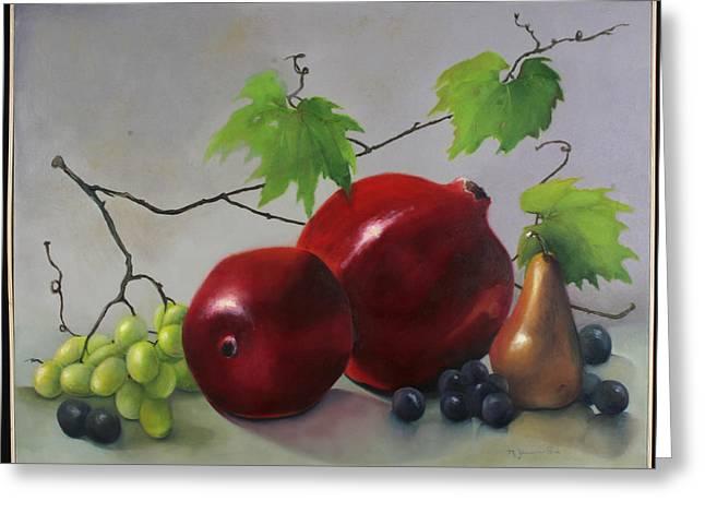 Pomegranate Greeting Card by Martha Zausmer paul