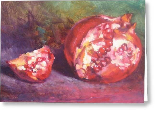 Pomegranate Greeting Card by Susan Jenkins