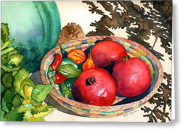Pomegranates And Basket Greeting Card by Eunice Olson