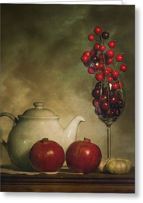 Pomegranates And Tea Pot Greeting Card by Levin Rodriguez