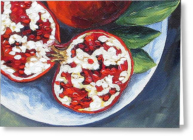 Pomegranates On A Plate  Greeting Card by Torrie Smiley