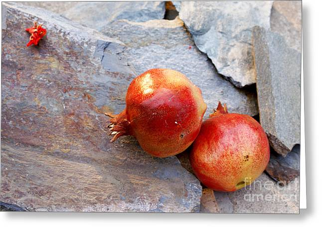 Greeting Card featuring the photograph Pomegranates On Stone by Cindy Garber Iverson