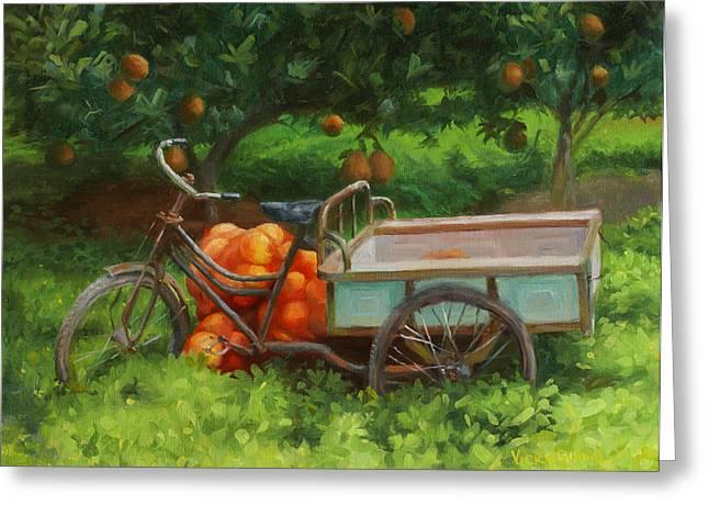 Pomelo Harvest Greeting Card by Vicky Gooch