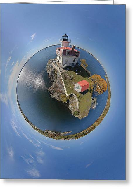Pomham Rocks Lighthouse Little Planet Greeting Card by Christopher Blake