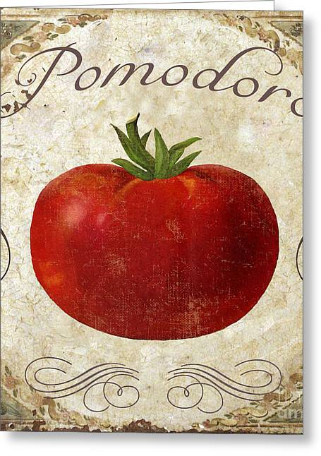 Pomodoro Tomato Italian Kitchen Greeting Card by Mindy Sommers