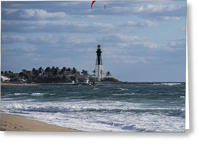 Pompano Beach Kiteboarder Hillsboro Lighthouse Catching Major Air 2 Greeting Card by Toby McGuire