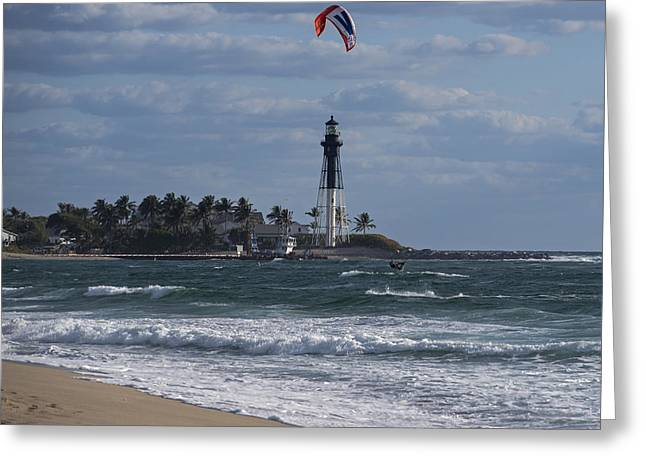 Pompano Beach Kiteboarder Hillsboro Lighthouse Catching Major Air Greeting Card by Toby McGuire