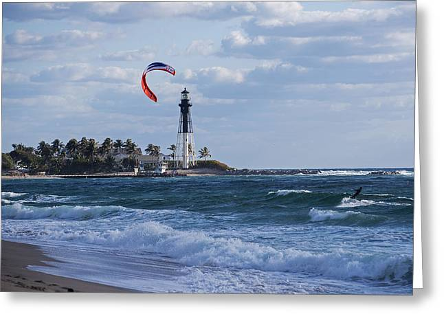 Pompano Beach Kiteboarder Hillsboro Lighthouse Greeting Card by Toby McGuire