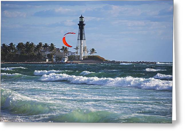 Pompano Beach Kiteboarder Hillsboro Lighthouse Waves Greeting Card by Toby McGuire