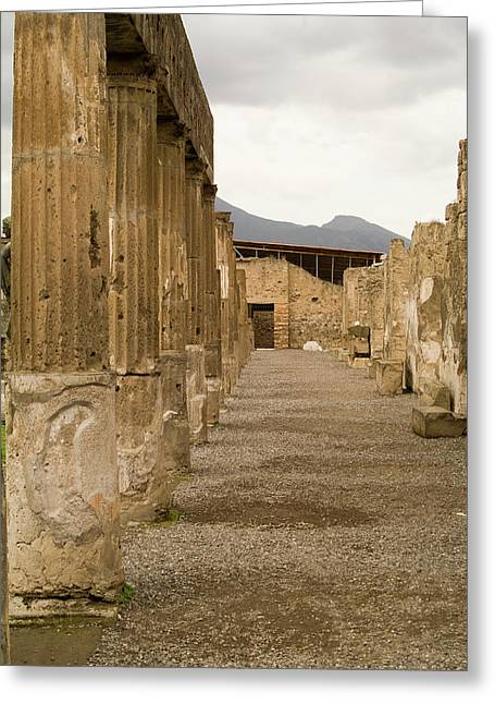 Greeting Card featuring the photograph Pompeii Columns by Michael Flood