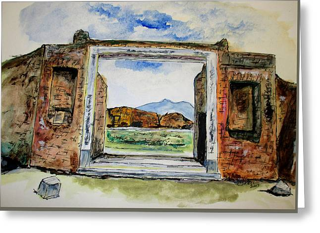 Pompeii Doorway Greeting Card