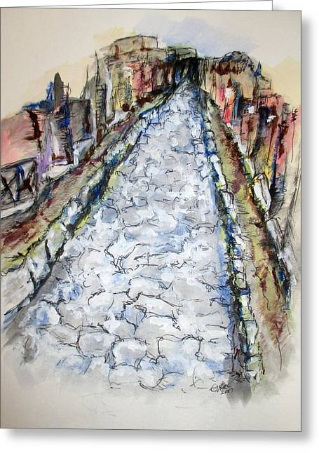 Greeting Card featuring the painting Pompeii Road by Clyde J Kell