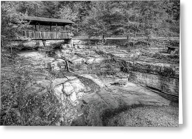 Ponca Arkansas Covered Bridge - Black And White Greeting Card by Gregory Ballos