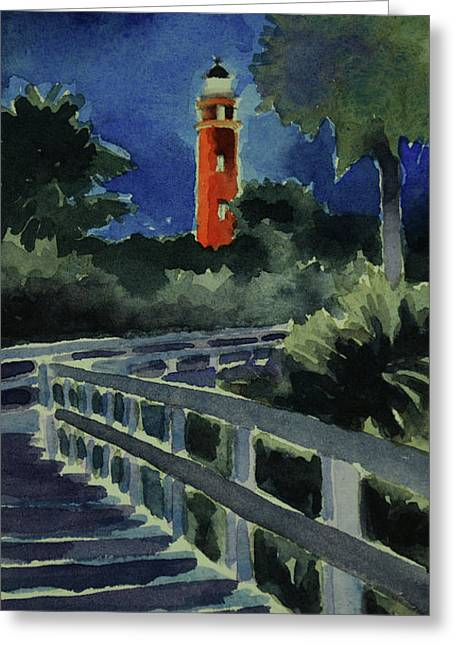 Ponce Inlet Lighthouse Before Dawn 7-5-17 Greeting Card