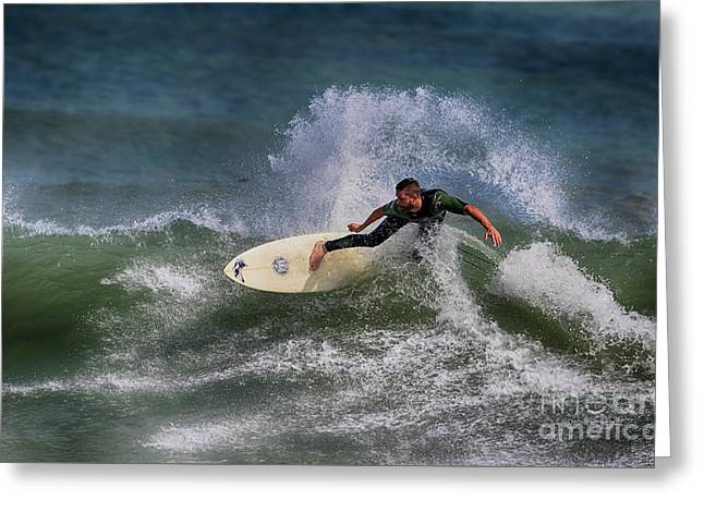 Greeting Card featuring the photograph Ponce Surfer 2017 by Deborah Benoit
