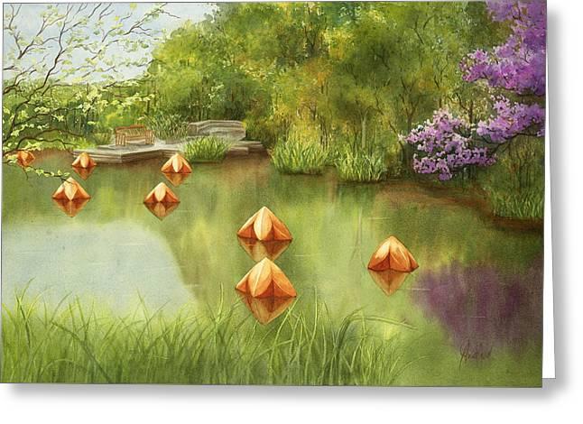 Pond At Olbrich Botanical Garden Greeting Card