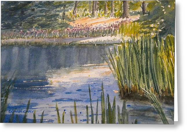 Pond At The Apple Orchard Greeting Card by Donna Cary