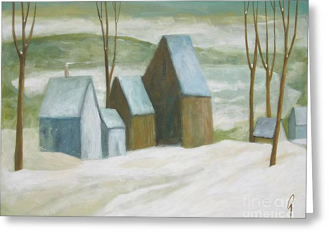 Pond Farm In Winter Greeting Card by Glenn Quist