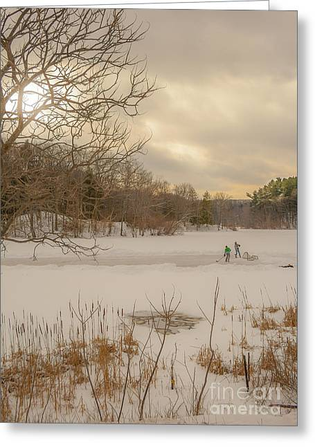 Pond Hockey At Durand Greeting Card by Ken Marsh