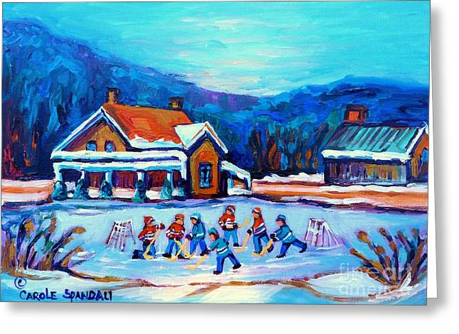 Pond Hockey Painting Canadian Art Original Winter Country Landscape Scene Carole Spandau    Greeting Card by Carole Spandau