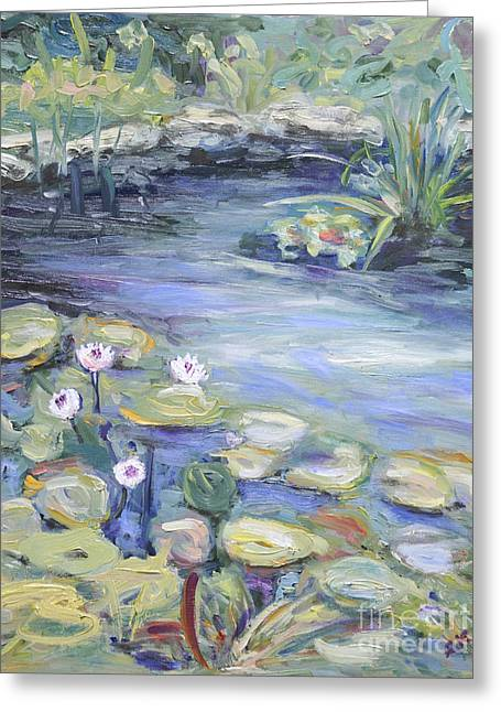 Greeting Card featuring the painting Pond In Berlin by Barbara Anna Knauf