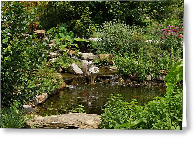 Pond In The Garden Greeting Card by Sandy Keeton