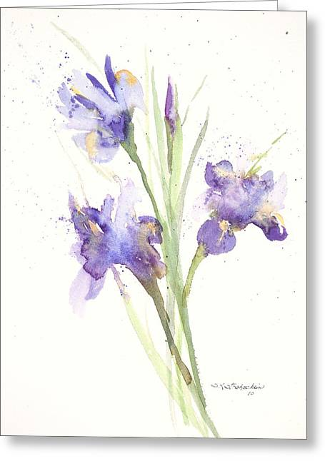 Greeting Card featuring the painting Pond Iris by Sandra Strohschein