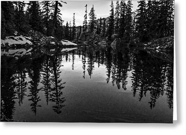 Pond On The Pacific Crest Trail Black And White Greeting Card