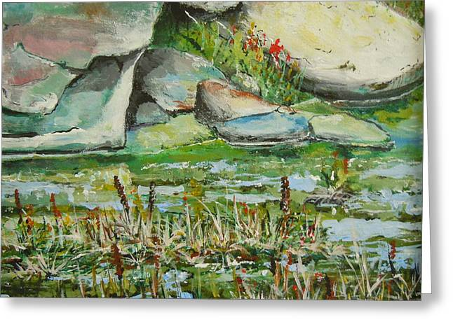 Greeting Card featuring the painting Pond Shadows And Reflections by Dan Whittemore