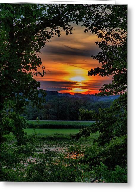 Pond Sunset  Greeting Card