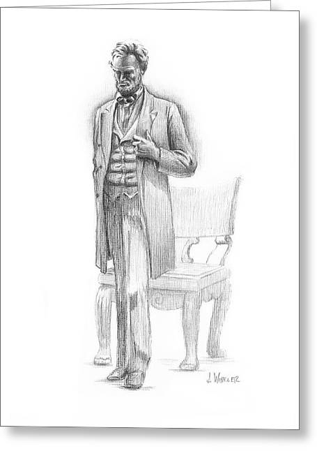 Greeting Card featuring the drawing Pondering Lincoln by Joe Winkler