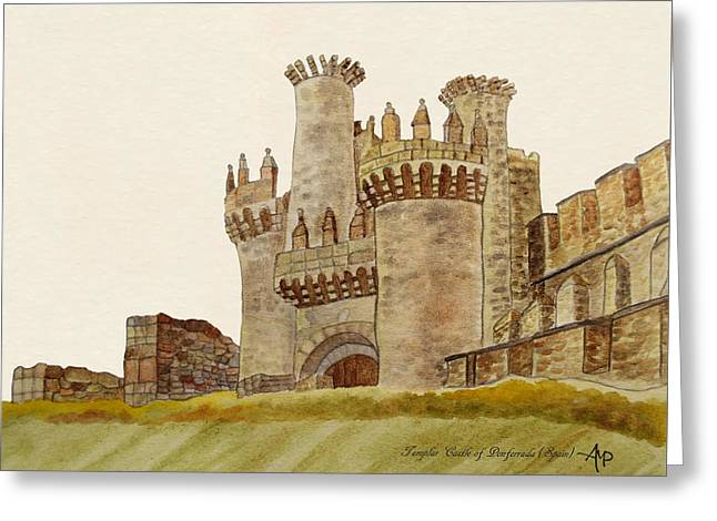 Ponferrada Templar Castle  Greeting Card by Angeles M Pomata
