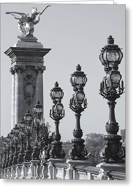 Pont Alexander IIi Detail Bw Greeting Card