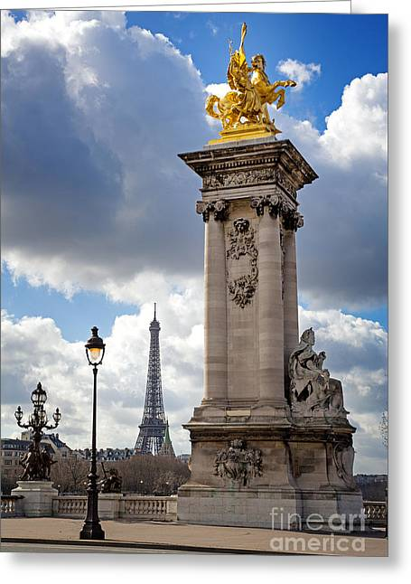 Pont Alexandre IIi Bridge With The Eiffel Tower Greeting Card by Jane Rix