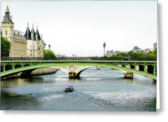 Pont Au Change Over The Seine River In Paris Greeting Card