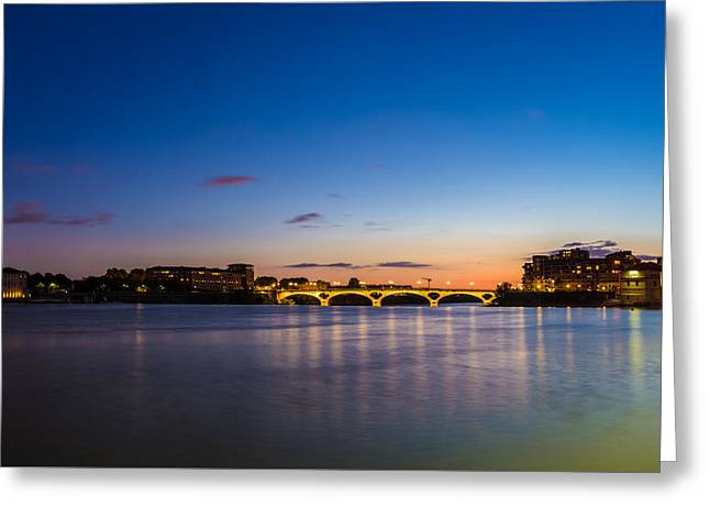 Greeting Card featuring the photograph Pont Des Catalans And Garonne River At Night by Semmick Photo