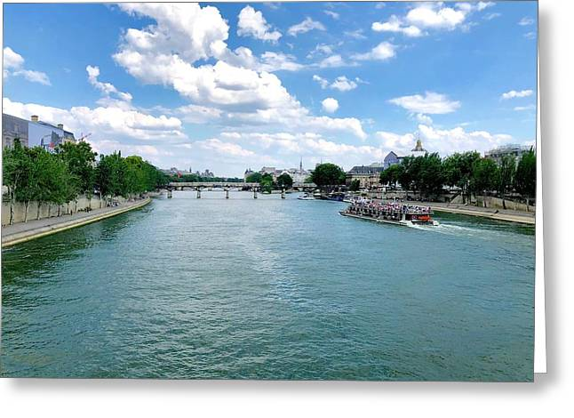 River Seine At Pont Du Carrousel Greeting Card