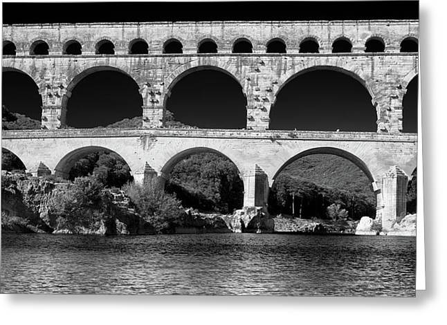 Greeting Card featuring the photograph Pont Du Gard Panorama by Richard Goodrich