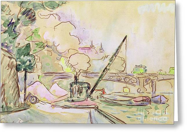 Pont Du Louvre Greeting Card by Paul Signac