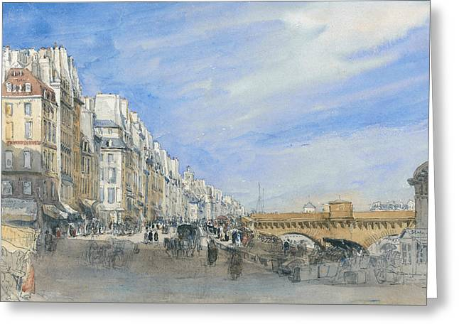 Pont Neuf From The Quai De L'ecole, Paris Greeting Card by David Cox