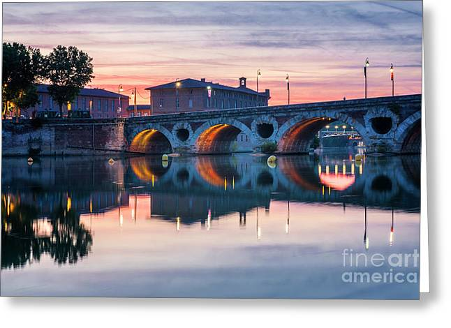 Greeting Card featuring the photograph Pont Neuf In Toulouse At Sunset by Elena Elisseeva
