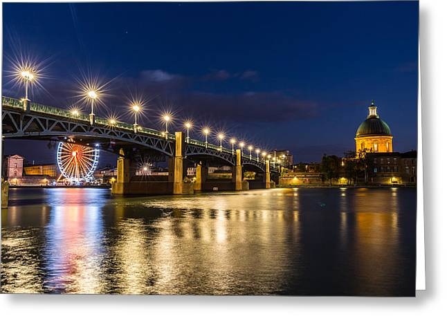 Greeting Card featuring the photograph Pont Saint-pierre With Street Lanterns At Night by Semmick Photo