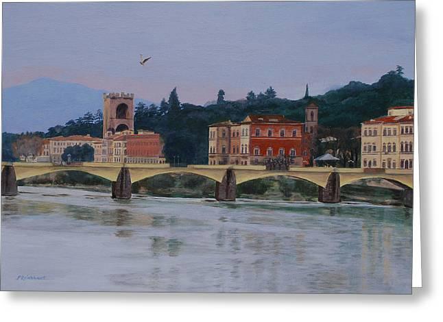 Pont Vecchio Landscape Greeting Card by Lynne Reichhart