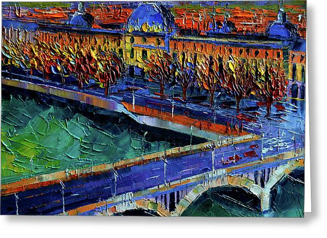Pont Wilson And Hotel Dieu De Lyon By Mona Edulesco Greeting Card by Mona Edulesco